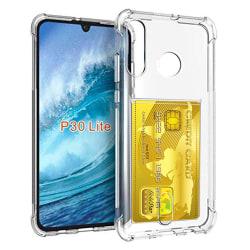 Huawei P30 Lite - Praktiskt Skal med Korthållare Transparent/Genomskinlig Transparent/Genomskinlig