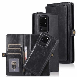 Samsung Galaxy S20 Ultra - Praktiskt Dubbelt Plånboksfodral Svart