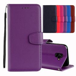 Smart Plånboksfodral för Samsung Galaxy A6 Plus Röd