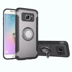 Samsung Galaxy S7 Edge - Praktiskt Skal med Ringhållare Silver