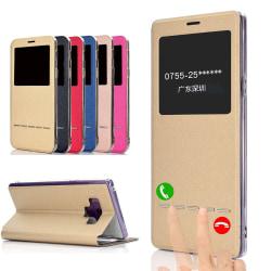 Smartfodral med Fönster & Svarsfunktion - Samsung Galaxy Note 9 Guld