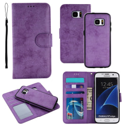 Samsung Galaxy S7 - Silk-Touch Fodral med Plånbok och Skal Lila