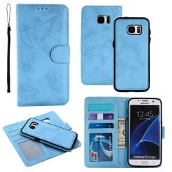 Samsung Galaxy S7 - Silk-Touch Fodral med Plånbok och Skal Ljusblå
