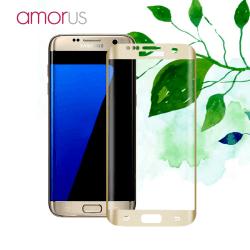 AMORUS Samsung Galaxy S7 Edge Härdat glas - Guld Transparent