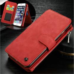 CASEME iPhone 6 / 6s Retro läder plånboksfodral - Röd Röd