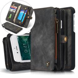 CASEME iPhone 8 / 7 / SE Retro Split läder plånboksfodral - Grå grå