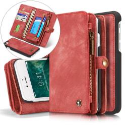 CASEME iPhone 8 / 7 / SE Retro Split läder plånboksfodral - Röd Röd