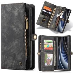 CASEME Samsung Galaxy Note 20 Retro läder plånboksfodral grå