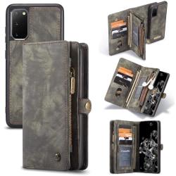 CASEME Samsung Galaxy S20 Retro läder plånboksfodral - Grå grå