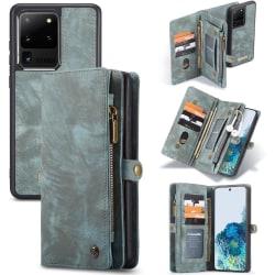 CASEME Samsung Galaxy S20 Ultra Retro läder plånboksfodral - Blå Blå