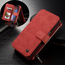 CASEME Samsung Galaxy S7 Edge Retro läder plånboksfodral Röd Röd