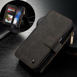 CASEME Samsung Galaxy S7 Edge Retro läder plånboksfodral Svart Svart
