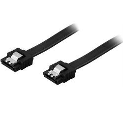 DELTACO SATA-kabel, SATA 6Gb/s, lås-clips, rak-rak, 0,3m, svart Svart