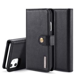 DG.MING iPhone 11 Split Läder Plånboksfodral - Svart Black