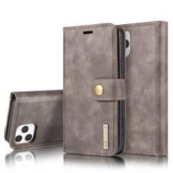DG.MING iPhone 12 / 12 Pro Split Läder Plånboksfodral - Grå grå