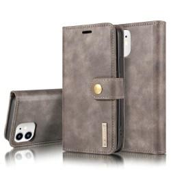 DG.MING iPhone 12 Mini Split Läder Plånboksfodral - Grå grå