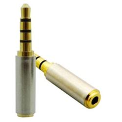 Guldpläterad 3.5 mm Hane till 2.5mm Hona audio adapter Guld