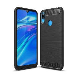 Huawei Y7 2019 Karbon fiber Texture Skal - Svart Svart