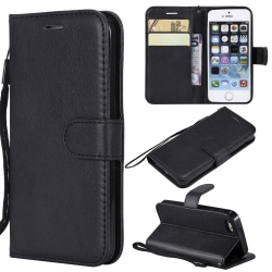 Iphone SE / 5s / 5 Plånboksfodral SVART Svart