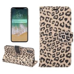 iPhone X Plånboksfodral Fodral Leopard - Beige