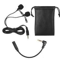Lavalier Lapel med dubbla huvud Mikrofon Mic 3.5mm Audio Plug Svart