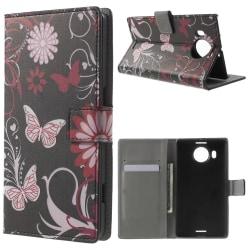 Microsoft Lumia 950 XL Plånboksfodral Butterflies Svart