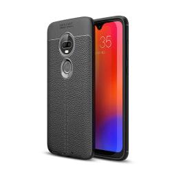 Motorola Moto G7 / G7 Plus TPU skal Litchi Texture - Svart Svart