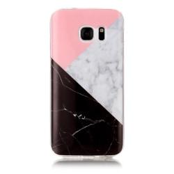 MTK Samsung Galaxy S7 SM-G930 TPU Marmor - Rosa-Vit-Svart Svart