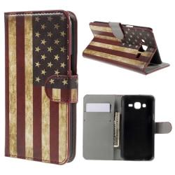 Samsung Galaxy J5 Plånboksfodral Vintage American Flag Svart