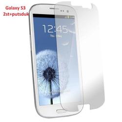Samsung Galaxy S3 I9300 Skärmskydd x2 + 2 st putsdukar Transparent