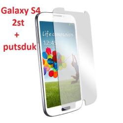 Samsung Galaxy S4 I9500 Skärmskydd x2 med putsduk Transparent