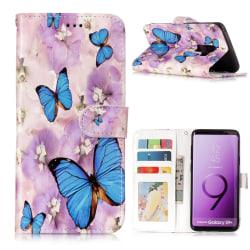 Samsung Galaxy S9 Plus Plånboksfodral - Blue Butterfly and Flowe multifärg