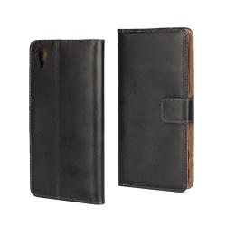 Sony Xperia X Plånboksfodral Läder Svart Svart