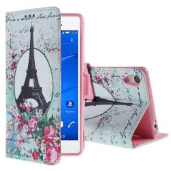 Sony Xperia Z3 Eiffel Tornet & Blommor Plånboksfodral MultiColor