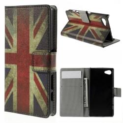 Sony Xperia Z5 Compact Plånboksfodral Vintage UK Flag Svart