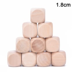 10pcs 6 Sided Blank Wood Dice Party Family DIY Games Printing E 1.8cm