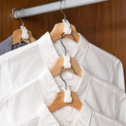 10pcs Wardrobe Space-saving Stack Hanger Hooks Plastic Coat Hook