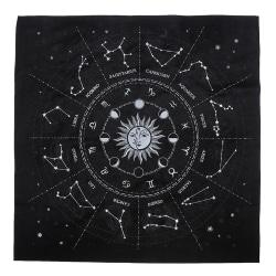 12 Constellations Tarot Card Bordsduk Brädspel Velvet Divin Black