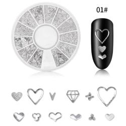 12 Grid Nail Rivet Jewelry Nail Decoration Rivet Hollow Alloy N A1