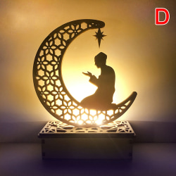 14cm Led Moon Light Eid Mubrak Decor Wood Moon Lantern Ramadan L D