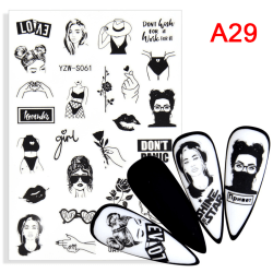 2021 New Nail Stickers Black Blossoms Floral Design Water Decal A29