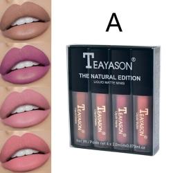 4Pc/set Women''S Liquid Lipstick Set Lip Gloss Nude Makeup Matt A