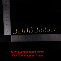 500st / set # 3 ~ # 12 Fiskekrokar Kolstål Golden Fishhooks W