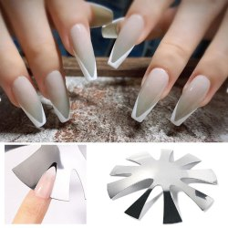 9 Sizes French Smile V Line Almond Shape Tips Nail Template Edge