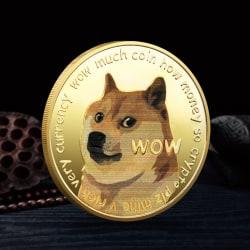 Vackra guldpläterade Dogecoin-minnesmynt Söt hund Patt