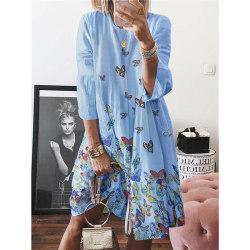 Fjärilstryck långärmad klänning med rund hals blue 5XL