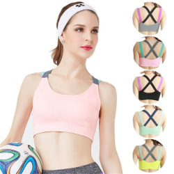 Cross back no hoop sports bra comfortable vest Black XL