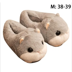 cute warm Hamster slipper pink brown gray Home Floor Soft anima M