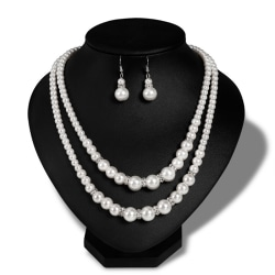 Double Chain Pearl Jewelry Set Women Simulated Pearl Necklace E White