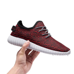 Fashion Men Shoes Casual Weaving Fly Mesh Breathable Light Soft Red 37